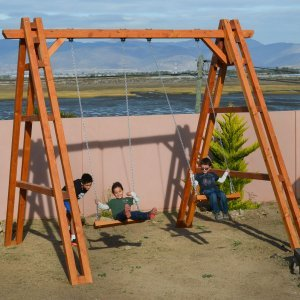 Rory's Giant Playground Swing Set (Options: 2 Seats, Douglas-fir, Standard Swing Seats, Transparent Premium Sealant).