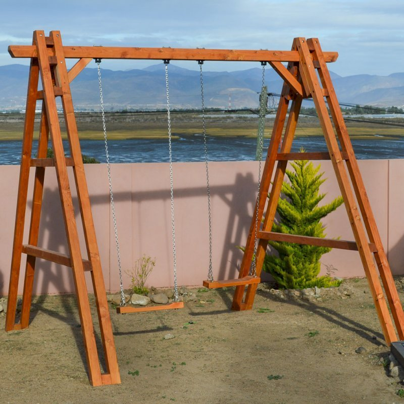 Rory's Giant Playground Swing Set (Options: 2 Seats, Douglas-fir, Standard Swing Seats, Transparent Premium Sealant).