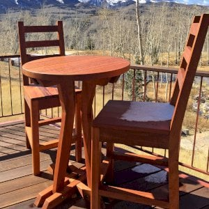 """Round Cocktail Table (Options: Std Round Cocktail Table, Ladderback Stools, Old-Growth Redwood, 29"""" H Seat, No Cushion, 42"""" H Table, Standard Tabletop, Transparent Premium Sealant). Photo Courtesy of P. Sigel of Telluride, Colorado."""