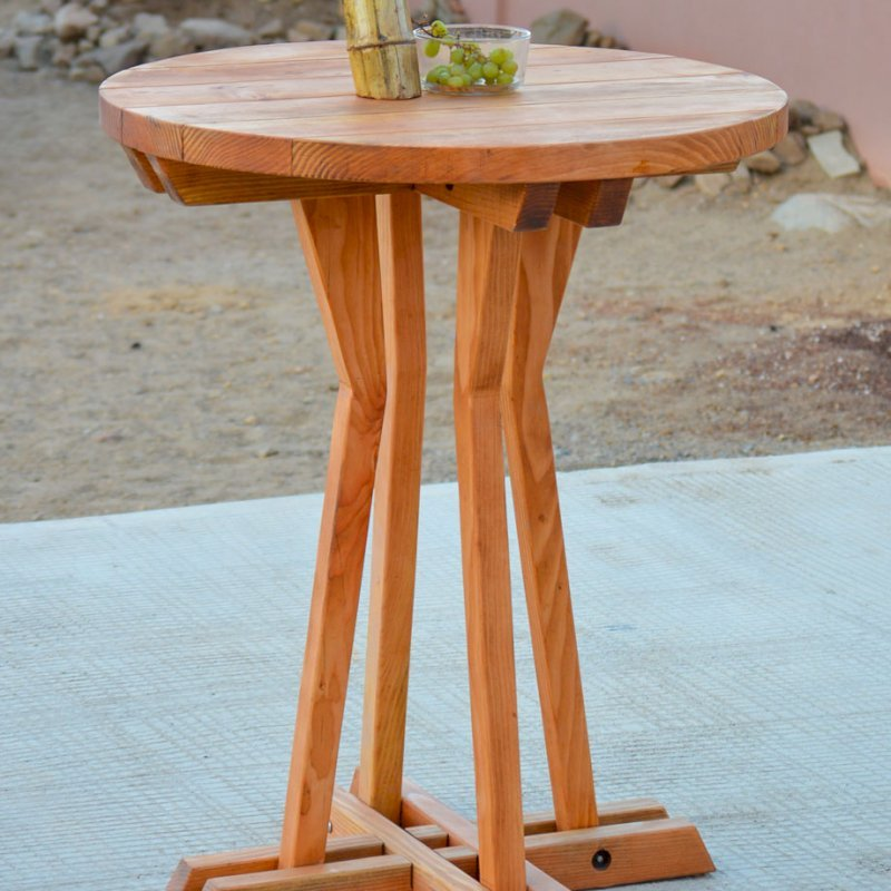 """Round Cocktail Table (Options: XL Round Cocktail Table, No Seating, Douglas-fir, 42"""" H Table, Standard Tabletop, Transparent Premium Sealant)."""