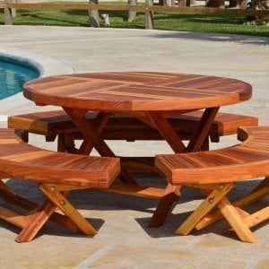 "Kid's Round Folding Table (Options: 42"" Diameter, Redwood, 3 Folding Benches, No Umbrella Hole, Standard Tabletop, Transparent Premium Sealant)."