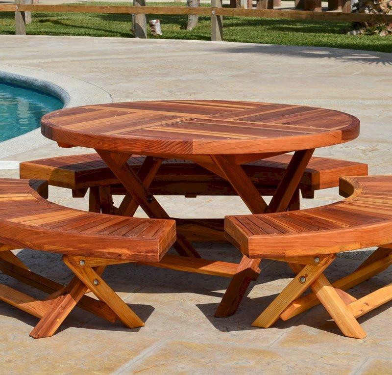 "Kid's Round Folding Table (Options: 42"" Diameter, Redwood, 3 Folding Benches, No Umbrella Hole, Standard Tabletop, Transparent Premium Sealant)."
