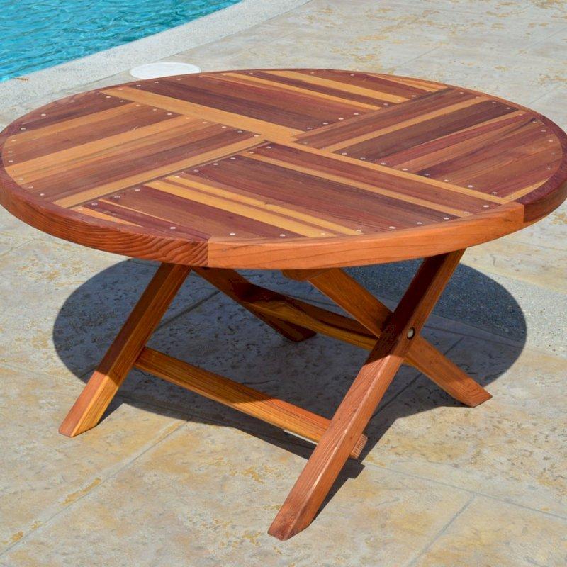 "Kid's Round Folding Table (Options: 42"" Diameter, Redwood, No Seating, No Umbrella Hole, Standard Tabletop, Transparent Premium Sealant)."