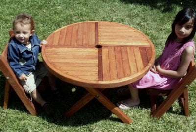 Round Folding Wood Table for Kids
