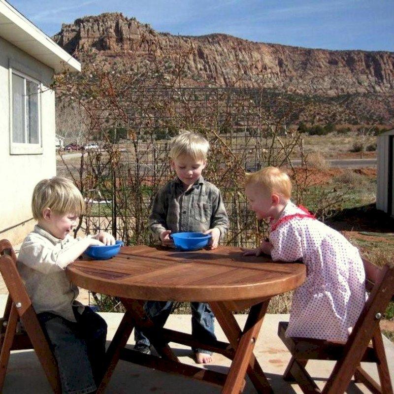 "Kid's Round Folding Table (Options: 33"" Diameter, Old-Growth Redwood, 2 Folding Chairs, No Umbrella Hole, Seamless Tabletop, Transparent Premium Sealant)."