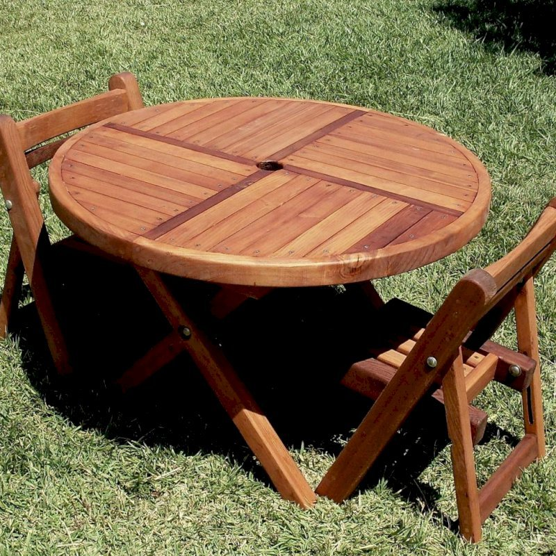 "Kid's Round Folding Table (Options: 33"" Diameter, Mature Redwood, 2 Folding Chairs, Umbrella Hole & Plug, Standard Tabletop, Transparent Premium Sealant)."