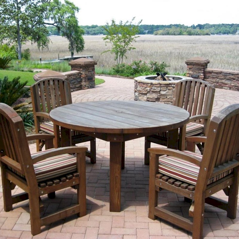 Round Patio Table (Options: 4.5 ft, 4 Chairs, Old-Growth Redwood , Luna Chair Style, 4 Custom Color Cushions, Arm Chairs Only,  Standard Tabletop, No Lazy Susan, Umbrella Hole, Coffee-Stain Premium Sealant). Photo Courtesy of Guy S. of Savannah, GA.