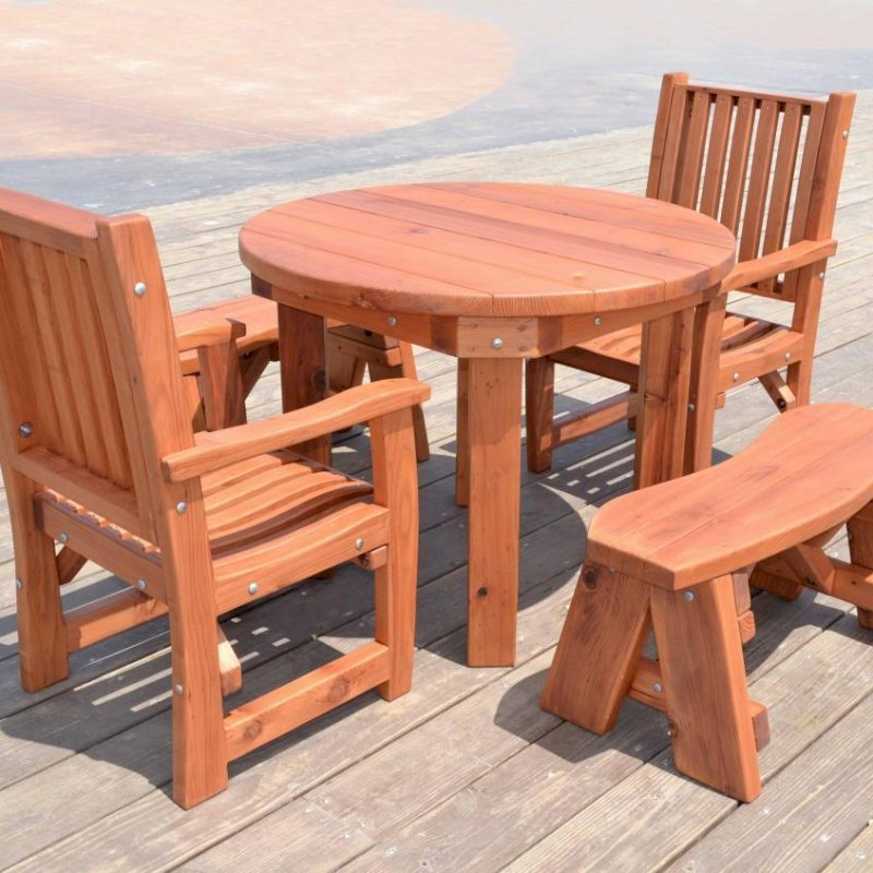 Round Patio Table (Options: 3.5 ft, 2 Chairs + 2 Round Benches, Mature Redwood, Ruth Chair Style, No Cushion, Arm Chairs Only,  Standard Tabletop, No Lazy Susan, No Umbrella Hole, Transparent Premium Sealant).