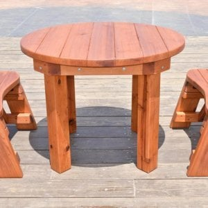 Round Patio Table (Options: 3.5 ft, 2 Round Benches, Mature Redwood, Standard Tabletop, No Lazy Susan, No Umbrella Hole, Transparent Premium Sealant).