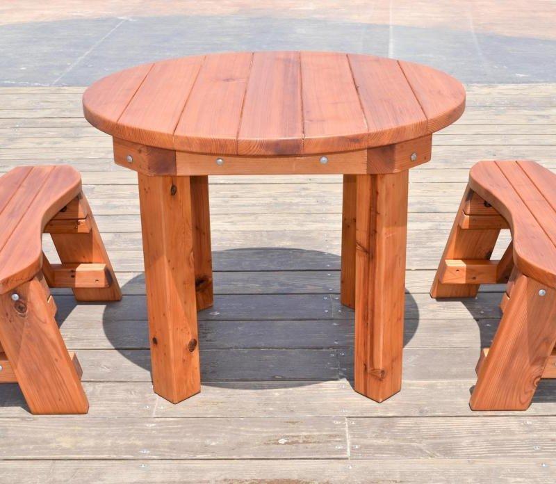 Round Patio Table (Options: 3.5 ft, 2 Round Benches, Mature Redwood, Standard Tabletop, No Lazy Susan, No Umbrella Hole, Transparent Premium Sealant).