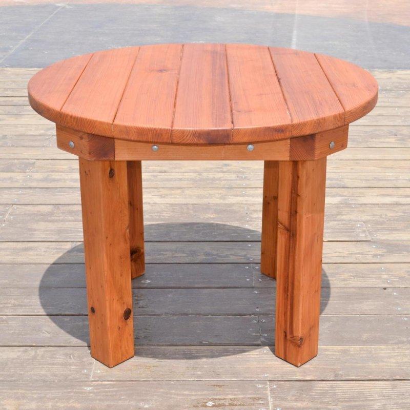 Round Patio Table (Options: 3.5 ft, No Seating, Mature Redwood, Standard Tabletop, No Lazy Susan, No Umbrella Hole, Transparent Premium Sealant).