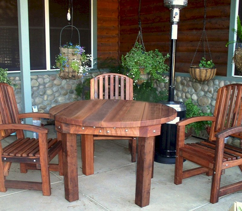 Round Patio Table (Options: 4', 4 Chairs (3 shown), Old-Growth Redwood, Luna Chairs, No Cushions, Armchairs only, Standard Tabletop, No Lazy Susan, No Umbrella Hole, Transparent Premium Sealant).
