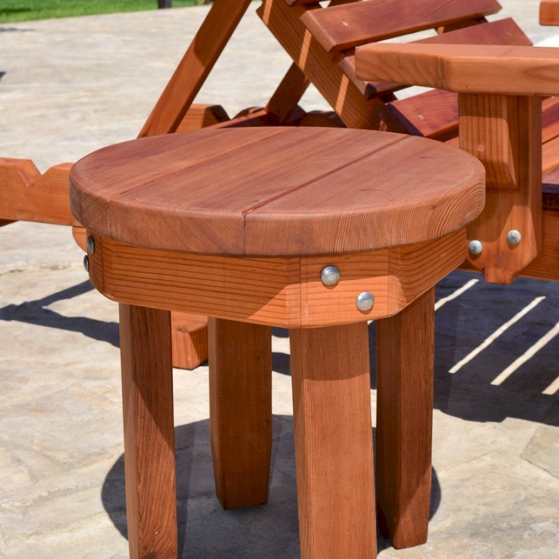 """Round Side Table (Options: 18"""" size, Old-Growth Redwood, Rounded Apron, 18""""H, Transparent Premium Sealant). Photo also shows The Poolside Privacy Panel and Sol Lounger."""