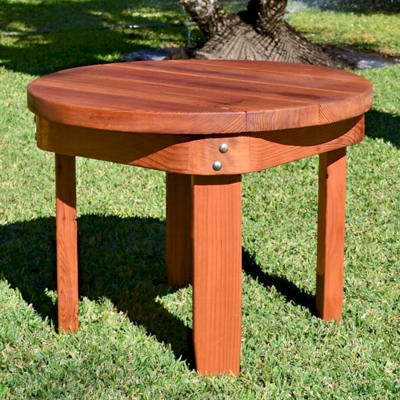 """Round Side Table (Options: 30"""", Mature Redwood, Rounded Apron, 22 inches tall, Transparent Premium Sealant)"""