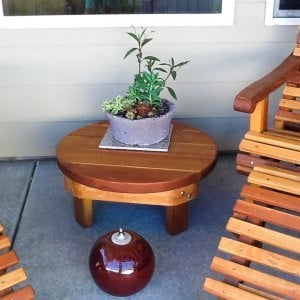 "Round Side Table (Options: 30"", Redwood, Rounded Apron, 12 inches tall, Transparent Premium Sealant). Photo Courtesy of Marilyn B. of Star, Idaho."