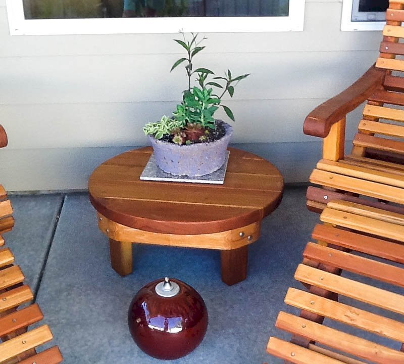 """Round Side Table (Options: 30"""", Redwood, Rounded Apron, 12 inches tall, Transparent Premium Sealant). Photo Courtesy of Marilyn B. of Star, Idaho."""