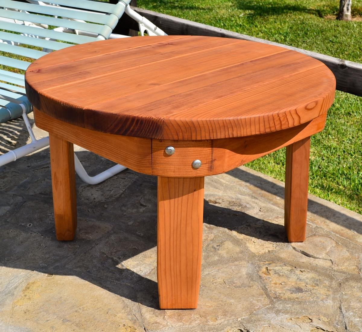 Solid Wood Side Table Classic Redwood Side Table - Redwood side table