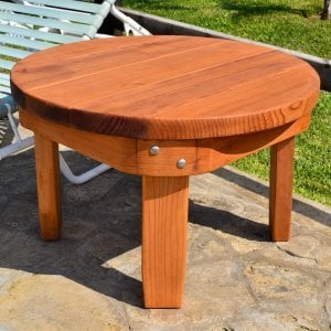 "Round Side Table (Options: 30"" size, Mature Redwood, Rounded Apron, 18""H, Transparent Premium Sealant)."