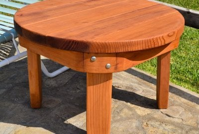 Round Solid Wood Side Table