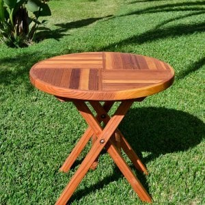 Round Folding Picnic Table (Options: Custom Size - 30 inch diameter, No Seating, Redwood, Standard Tabletop, Checkerboard Design Tabletop, No Umbrella Hole, Transparent Premium Sealant).