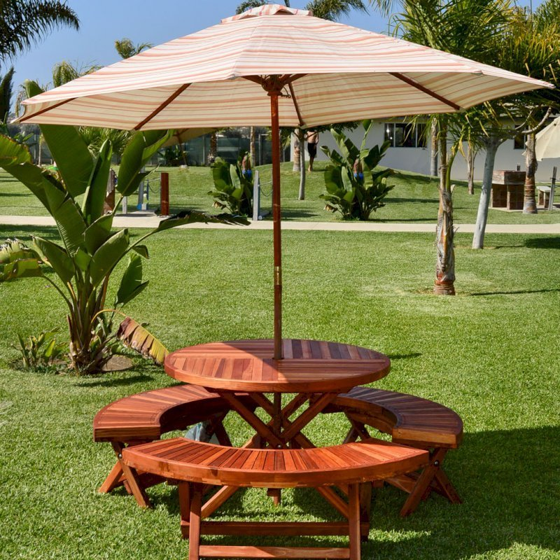 "Round Folding Picnic Table (Options: 42"", Folding Arc Benches, Redwood [with some Mosaic Eco-Wood boards at the bottom of the seat by custom request], 3 Folding Arc Benches, Standard Tabletop, Checkerboard Design Tabletop, Umbrella Hole & Plug, Transparent Premium Sealant). Umbrella not included."