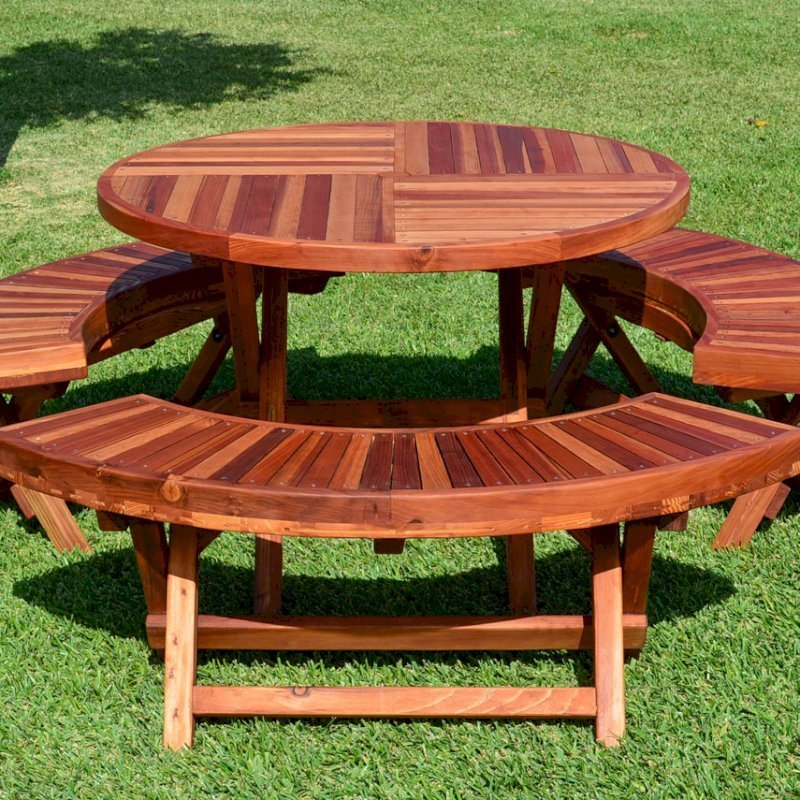 "Round Folding Picnic Table (Options: 42"", Folding Arc Benches, Redwood [with some Mosaic Eco-Wood boards at the bottom of the seat by custom request], 3 Folding Arc Benches, Standard Tabletop, Checkerboard Design Tabletop, Umbrella Hole & Plug, Transparent Premium Sealant)."