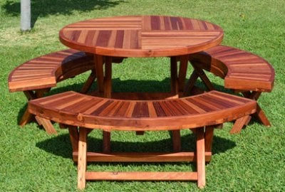 Round Wood Folding Picnic Table