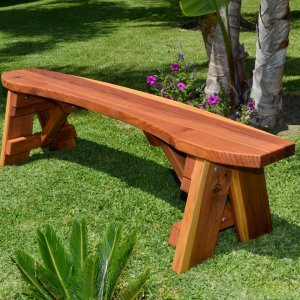 Round Picnic Bench (Options: 6 ft, Redwood, No Engraving, Transparent Premium Sealant).