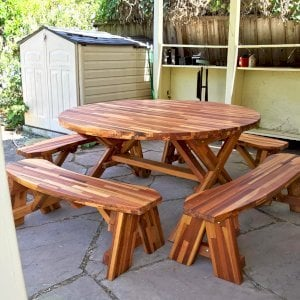 Round Picnic Table with Wheels (Options: 5' diameter, Unattached Benches, Mosaic Reclaim Wood, Round Picnic Benches, Standard Tabletop, No Lazy Susan, No Umbrella Hole, Transparent Premium Sealant). Photo Courtesy of A. McChesney-Young of Berkeley, California.