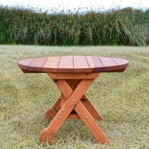 Round Picnic Table with Wheels (Options: 3.5' diameter, No Seating, Redwood, Standard Tabletop, No Lazy Susan, Umbrella Hole, Transparent Premium Sealant).