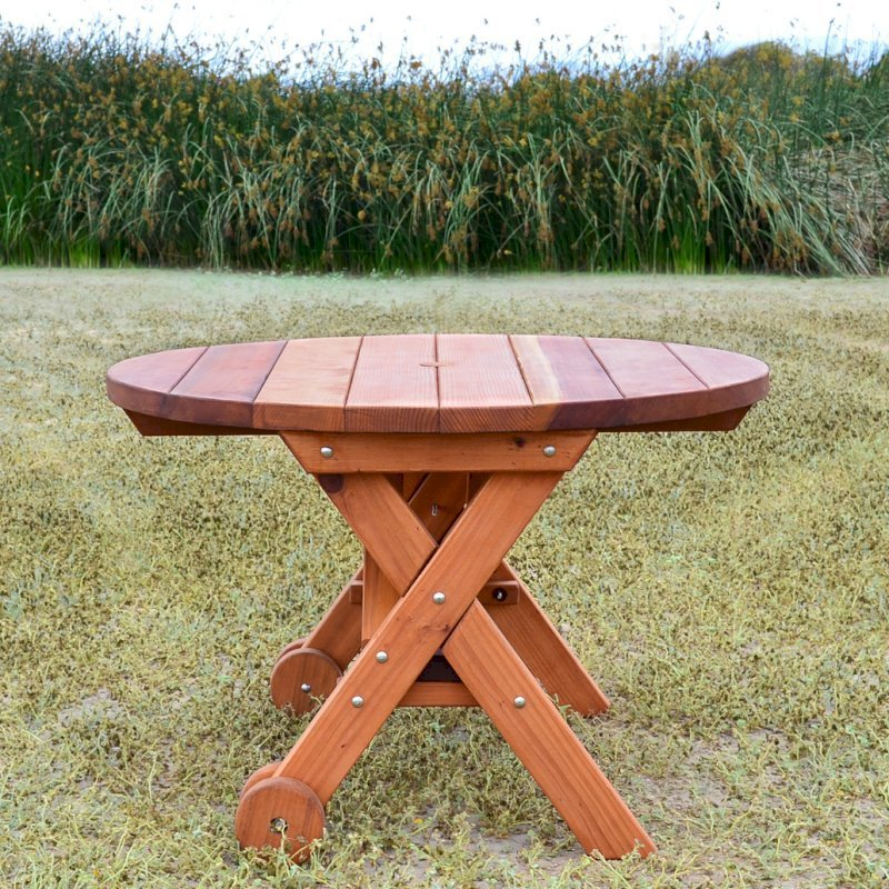Admirable Round Wood Picnic Table With Wheels Forever Redwood Gamerscity Chair Design For Home Gamerscityorg
