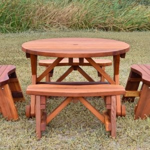 Round Picnic Table with Wheels (Options: 3.5' diameter, Unattached Benches,  Redwood, Round Picnic Benches, Standard Tabletop, No Lazy Susan, Umbrella Hole, Transparent Premium Sealant).