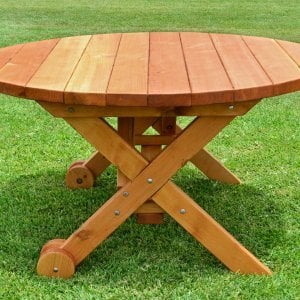 Round Picnic Table with Wheels (Options: 5' diameter, No Seating, Redwood, Standard Tabletop, No Lazy Susan, No Umbrella Hole, Transparent Premium Sealant).