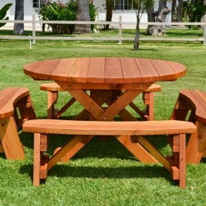 Round Picnic Table with Wheels (Options: 5' diameter, Unattached Benches, Redwood, Round Picnic Benches, Standard Tabletop, No Lazy Susan, No Umbrella Hole, Transparent Premium Sealant).
