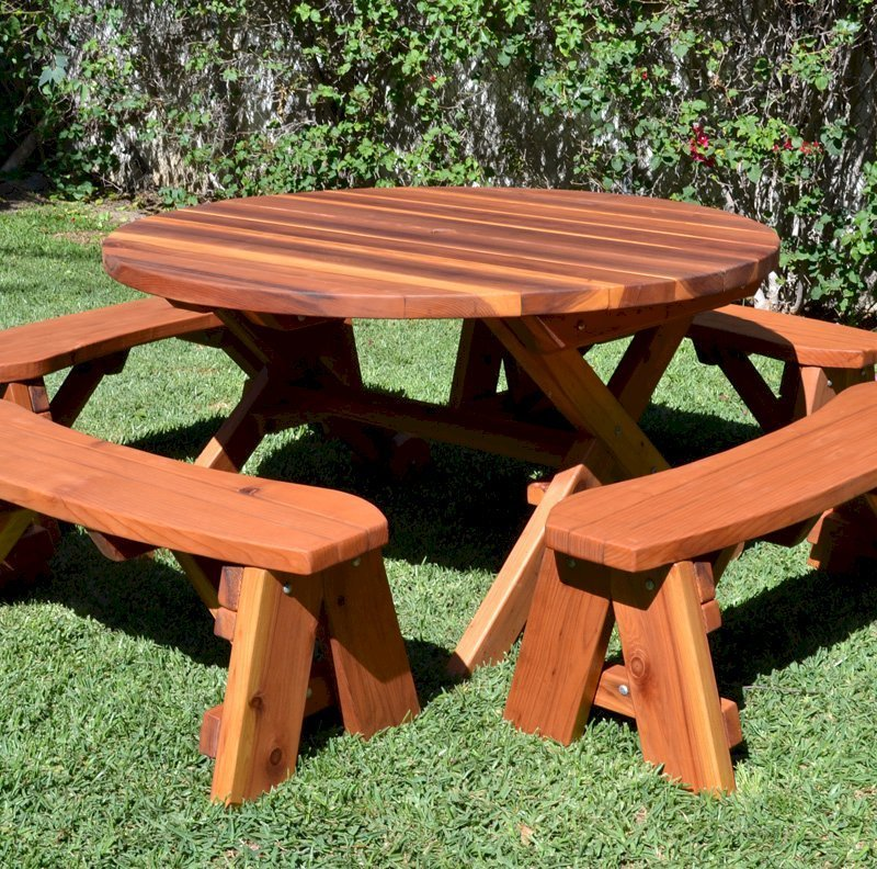 Round Picnic Table with Wheels (Options: 5' diameter, Unattached Benches, Redwood, Round Picnic Benches, Standard Tabletop, No Lazy Susan, Umbrella Hole & Plug, Transparent Premium Sealant).