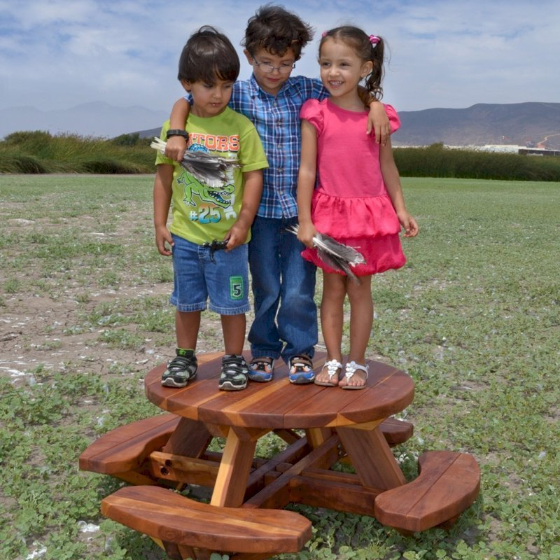 Toddler's Round Picnic Table (Redwood, No Umbrella Hole, Standard Tabletop, No ADA, Transparent Premium Sealant).