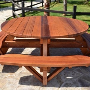 Round Picnic Table (Options: 6' Diameter, Attached Benches, Old-Growth Redwood, Standard Tabletop, No Lazy Susan, Umbrella Hole, Transparent Premium Sealant).