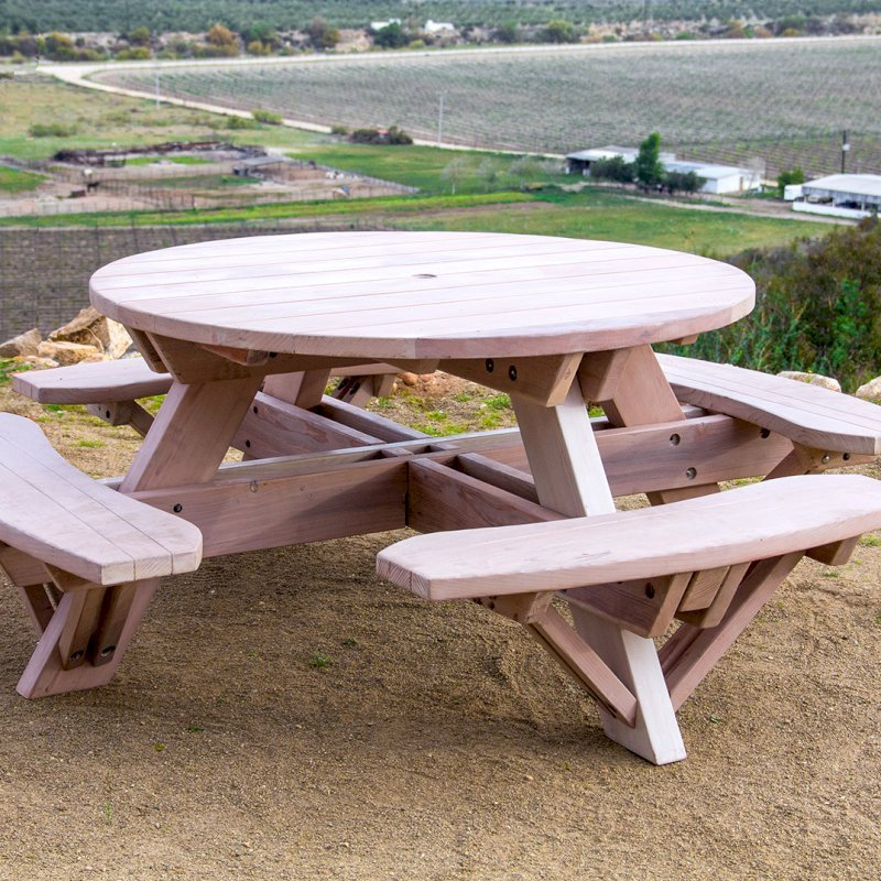 Round Picnic Table (Options: 5' Diameter, Attached Benches, Douglas-fir, Standard Tabletop, No Lazy Susan, Umbrella Hole, Custom White Wash Finish).