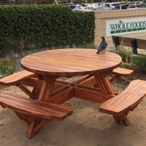 Round Picnic Table (Options: 5' Diameter, Attached Benches, Mosaic Eco-Wood, Standard Tabletop, No Lazy Susan, Umbrella Hole & Plug, Transparent Premium Sealant). Photo Courtesy of Whole Foods Market of San Rafael, CA.