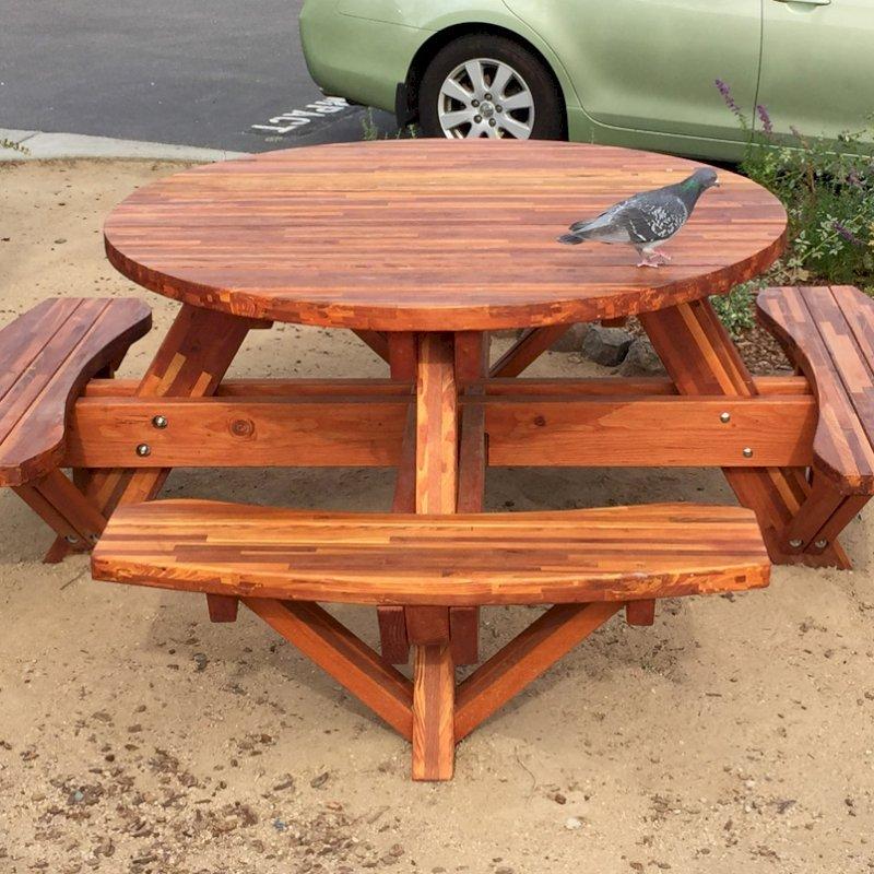 Round Picnic Table (Options: 5' Diameter, Attached Benches, Mosaic Eco-Wood, Standard Tabletop, No Lazy Susan, Umbrella Hole & Plug, Transparent Premium Sealant). Photo Courtesy of Whole Foods Market of San Rafael, CA.