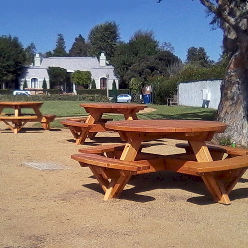 Round Picnic Tables (Options: 5' Diameter, Attached Benches, Redwood, Standard Tabletop, No Lazy Susan, Umbrella Hole & Plug, Transparent Premium Sealant).