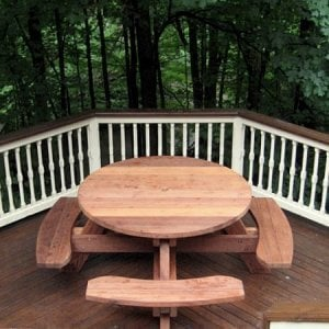 Round Picnic Table (Options: 4.5' Diameter, Attached Benches, Mature Redwood, Seamless Tabletop, No Lazy Susan, Umbrella Hole & Plug, Transparent Premium Sealant).