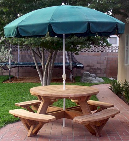 Surprising Round Wooden Picnic Table With Attached Benches Ibusinesslaw Wood Chair Design Ideas Ibusinesslaworg