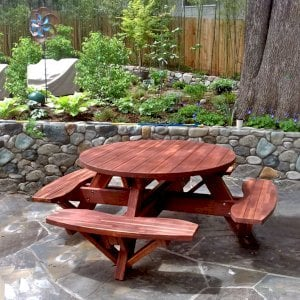 Round Picnic Table (Options: 4.5' Diameter, Attached Benches, Redwood, Standard Tabletop, No Lazy Susan, No Umbrella Hole & Plug, Coffee-Stain Premium Sealant). Photo Courtesy of D. Kenyon of Ashland, Oregon.