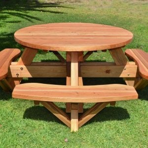 Round Picnic Table (Options: 4.5' Diameter, Attached Benches, Redwood, Standard Tabletop, No Lazy Susan, Umbrella Hole & Plug, Transparent Premium Sealant).