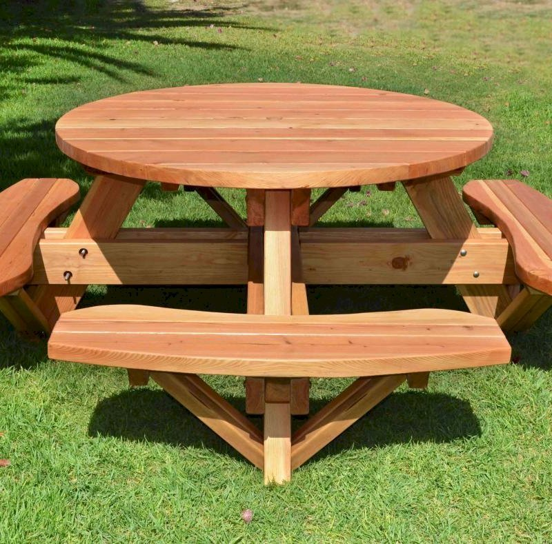 Wondrous Round Wooden Picnic Table With Attached Benches Ibusinesslaw Wood Chair Design Ideas Ibusinesslaworg