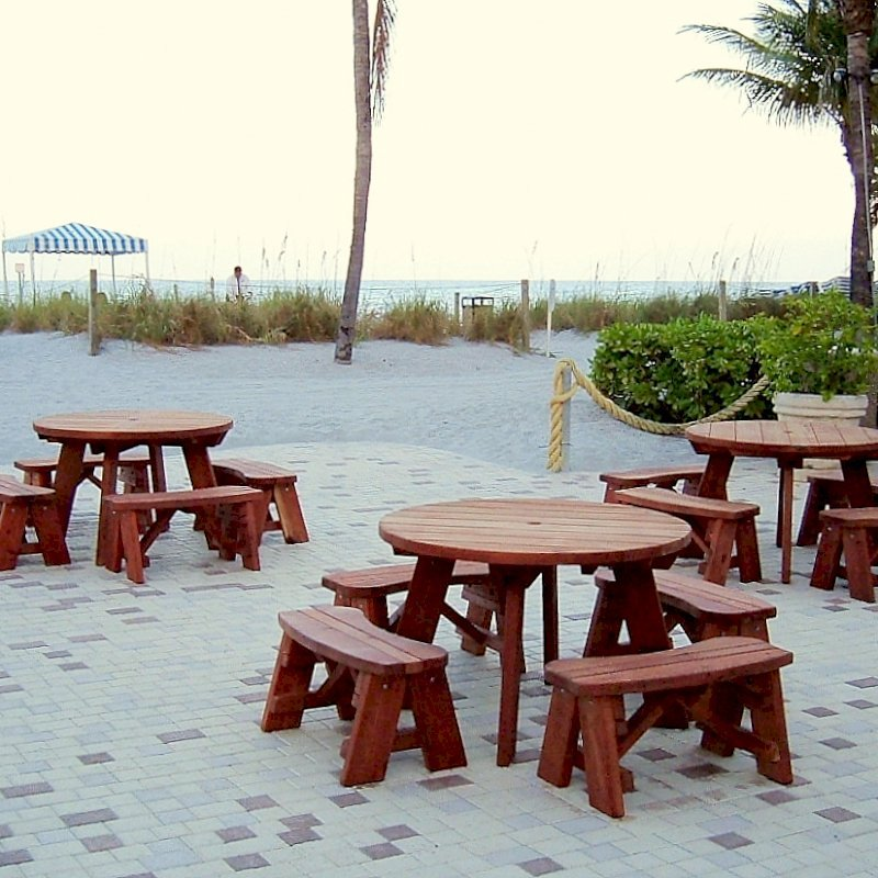 Sunset in the Florida Keys: Round Forever Picnic Table (Options: 4' diameter, Unattached Benches, Old-Growth Redwood, Round Picnic Benches, Standard Tabletop, No Lazy Susan, Umbrella Hole & Plug, Transparent Premium Sealant).