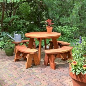 Round Picnic Table (Options: 4' Diameter, Unattached Benches, Redwood, Arc Picnic Bench, Standard Tabletop, No Lazy Susan, No Umbrella Hole, Transparent Premium Sealant). Photo Courtesy of Bill Reichenbach of Pewaukee, Wisconsin.