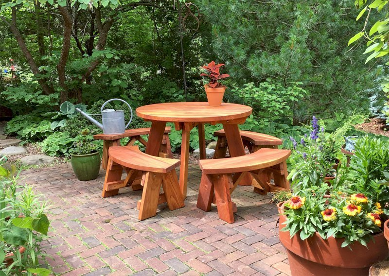 Pleasing Round Wooden Picnic Table With Detached Benches Andrewgaddart Wooden Chair Designs For Living Room Andrewgaddartcom