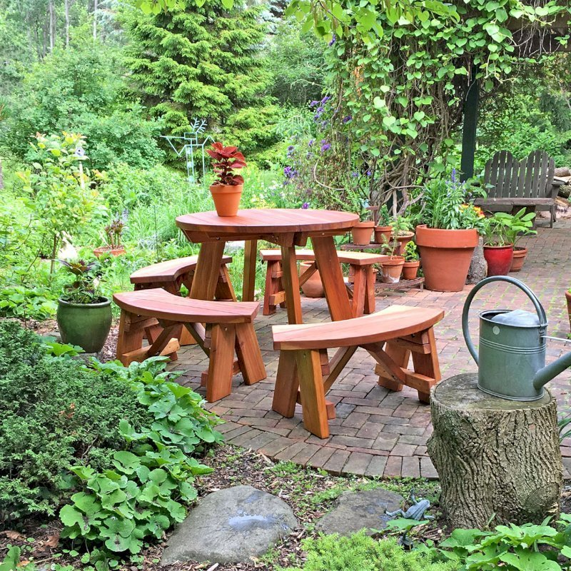 Awesome Round Wooden Picnic Table With Detached Benches Andrewgaddart Wooden Chair Designs For Living Room Andrewgaddartcom